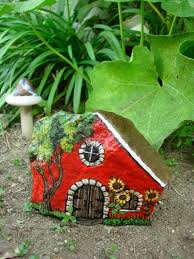 painted garden rock fairy cottage house by mypaintedswan on etsy