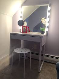 Mirrored Vanity Stool Furniture Beauty Dress Up With Makeup Desk With Lights