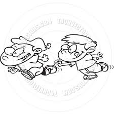 cartoon kids playing tag black and white line art by ron