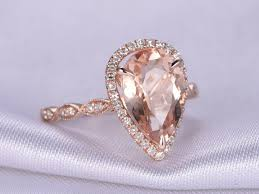 pink morganite 8x12mm pear cut pink morganite engagement ring 14k gold