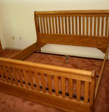 Oak Sleigh Bed King Size Oak Slat Back Sleigh Bed Ebth