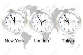 Global Time Zones Map by World Time Zones Time In London New York And Tokyo Three Clocks