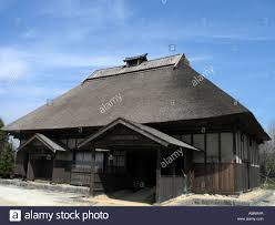 old traditional japanese house michinoku park outdoor museum stock