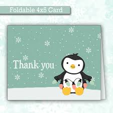christmas thank you cards christmas penguin thank you cards winter thank you