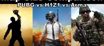 pubg vs h1z1 map size comparison pubg vs h1z1 vs arma video vs new pubg desert