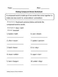 worksheets for compound words january craft and worksheets for