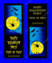 set of halloween ticket on holiday party with scary spider moon