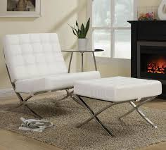 chairs with ottomans for living room furniture contemporary white leather chair ottoman with chrome