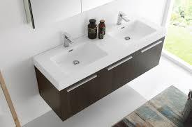 Bathroom Vanity Double Sink 60 Inches by Fresca Mezzo 60 Inch Gray Oak Wall Mounted Double Sink Modern