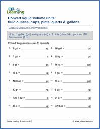 Gallon Worksheet Grade 5 Measurement Worksheets Free Printable K5 Learning