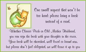 Baby Shower Invitation Wording Bring Books Instead Of Card Treats Classic Pooh Baby Shower