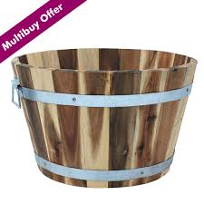 Half Barrel Planter by Cadix Acacia Natural Half Barrel Planter Wooden Barrel Planters