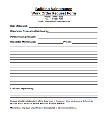Maintenance Request Form Template by Sle Maintenance Work Order Form 6 Free Documents In Pdf