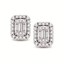 diamond stud earrings melbourne 14kt white gold baguette and brilliant halo diamond stud