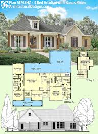 acadian floor plans plan 51742hz 3 bed acadian home plan with bonus garage