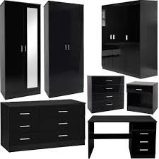 amazon com theater solutions ts509 bedroom furniture 3 piece set black gloss wardrobe drawer bedside