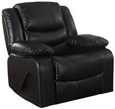 Black Living Room Chairs Bonded Leather Rocker Recliner Living Room Chair