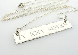 personalized silver bar necklace personalized numeral necklace custom sterling silver bar