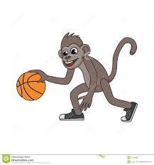 vector cartoon monkey playing basketball stock illustration