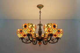 6 lights tiffany style sunflower ceiling lighting chandelier