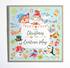 personalised christmas card cute christmas characters childs