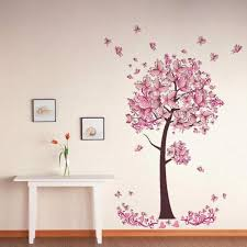 pink butterfly tree flowers vinyl wall sticker decal nursery