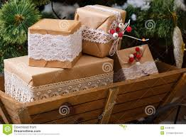 old wooden box with vintage christmas decorations stock photo