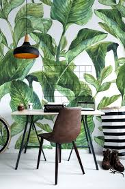 an abundance of green contemporary office nature wall wall mural vinyl watercolor seamless background with tropical leaves