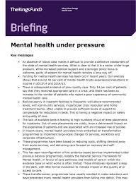mental health under pressure the king u0027s fund