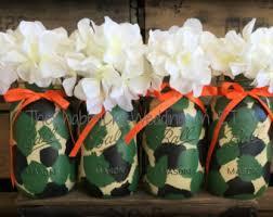 Set 3 Quart Camoflage Painted Mason Jars Camo Decorations