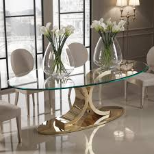 designer 24 carat gold plated oval glass dining table juliettes