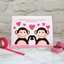 congratulations on your engagement card monkeys personalised engagement card by arnott cards
