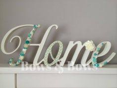 Wooden Words Home Decor Love Letter Wooden Freestanding Script Word Sign Plaque Light Blue
