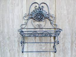 Hanging Wall Decor by Vintage Shelf Metal Shelf Wrought Iron Shelf Shabby Chic Decor