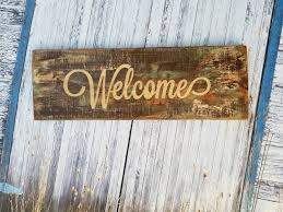 distressed rustic wood sign welcome shabby chic home decor