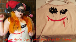 winter harley quinn joker face shirt diy tutorial youtube