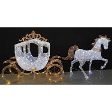 Metal Outdoor Decorations For Christmas by Home Accents Holiday 58 In Led Warm White Carriage And 43 In Led