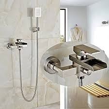 Bathtub Handheld Shower Rozin Brushed Nickel Wall Mounted Waterfall Tub Mixer Faucet Tap