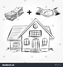 House Architecture Drawing Sketch House Architecture Drawing Free Hand Stock Vector 591083792