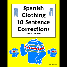 clothing sentence correction u0026 picture id worksheet la ropa