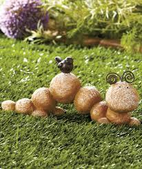 Garden Stone Craft - ceramic stone river rock caterpillar garden yard lawn statue