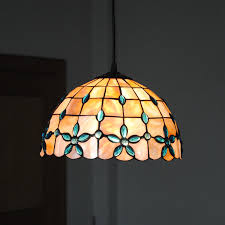 stained glass dining room light new e26 e27 tiffany shell pendant l european retro stained glass