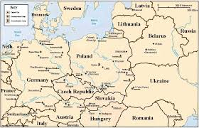 Map Eastern Europe Holocaust Map Of Concentration And Death Camps