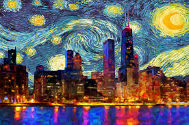 chicago home decor chicago skyline poster van gogh starry night print chicago