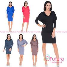 ladies smart casual office party long sleeve batwing knee length