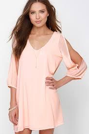 pretty peach dress shift dress cold shoulder dress 44 00