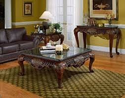 Traditional Living Room Tables Cherry Finish Traditional Coffee Table W Black Marble Top
