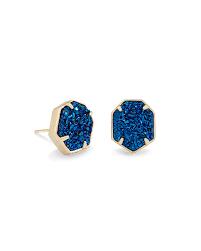 blue stud earrings stud earrings in blue drusy kendra