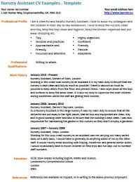 nursery assistant cv example learnist org
