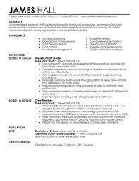Fast Food Resume Sample by Best Breakfast Shift Leaders Resume Example Livecareer